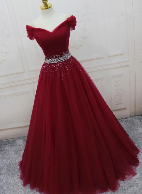 54cc31617f03 Wine Red Elegant Princess Evening Gown, Handmade Off Shoulder Ball Gowns -  Thumbnail 1 ...