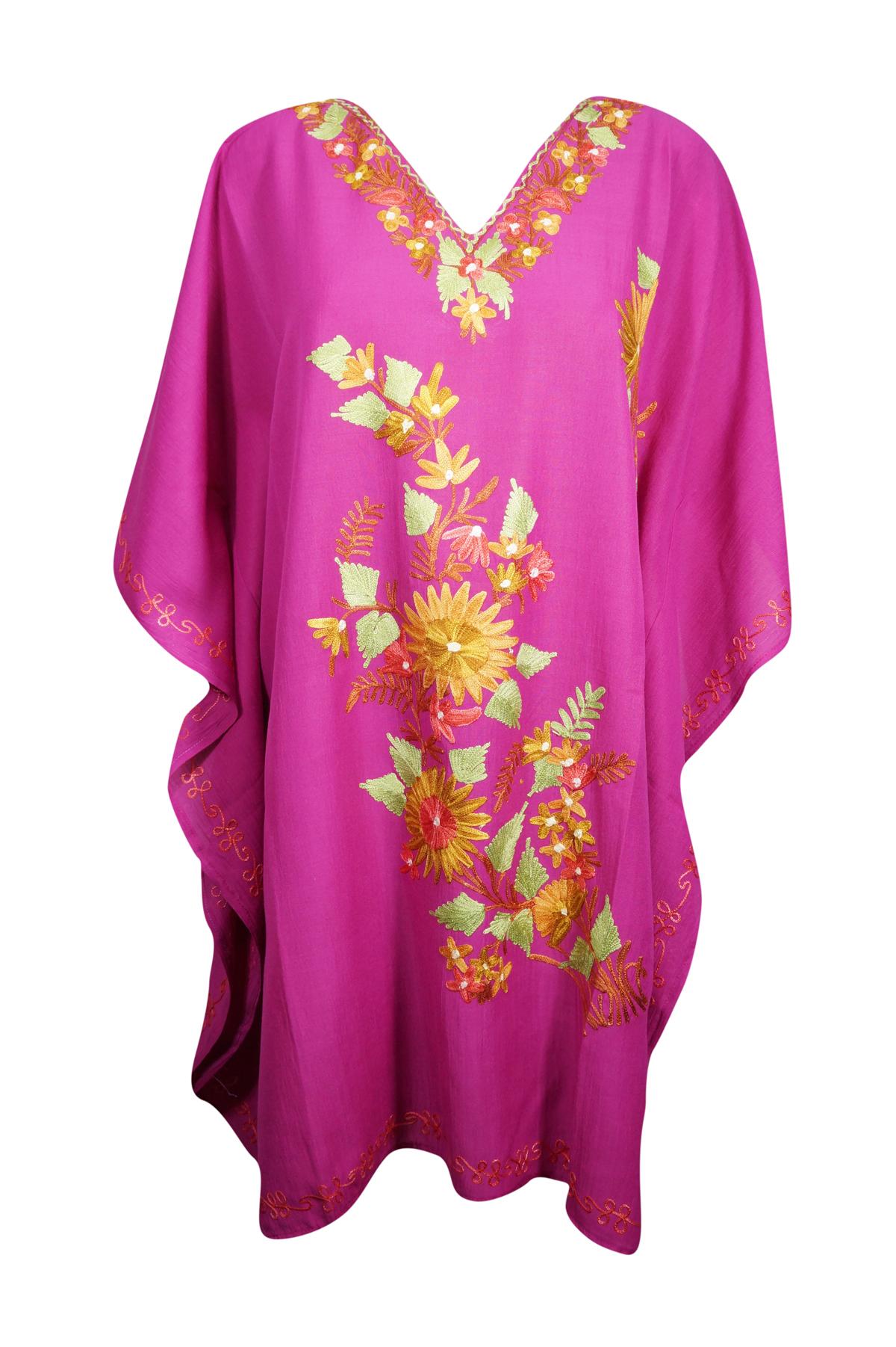 7a4f0b77495e7 Summer Cotton Tunic Caftan Floral Embroidered Beach Bikini Cover Up ...