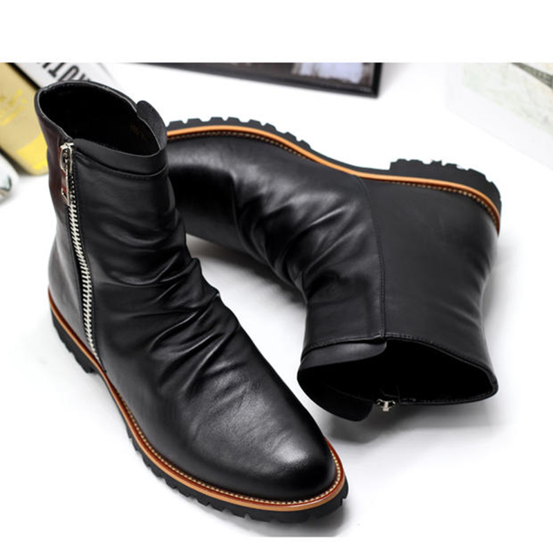 0e76af60c62 Handmade Men black Side zipper leather ankle boots, Mens casual boots,  Leather boots for mens