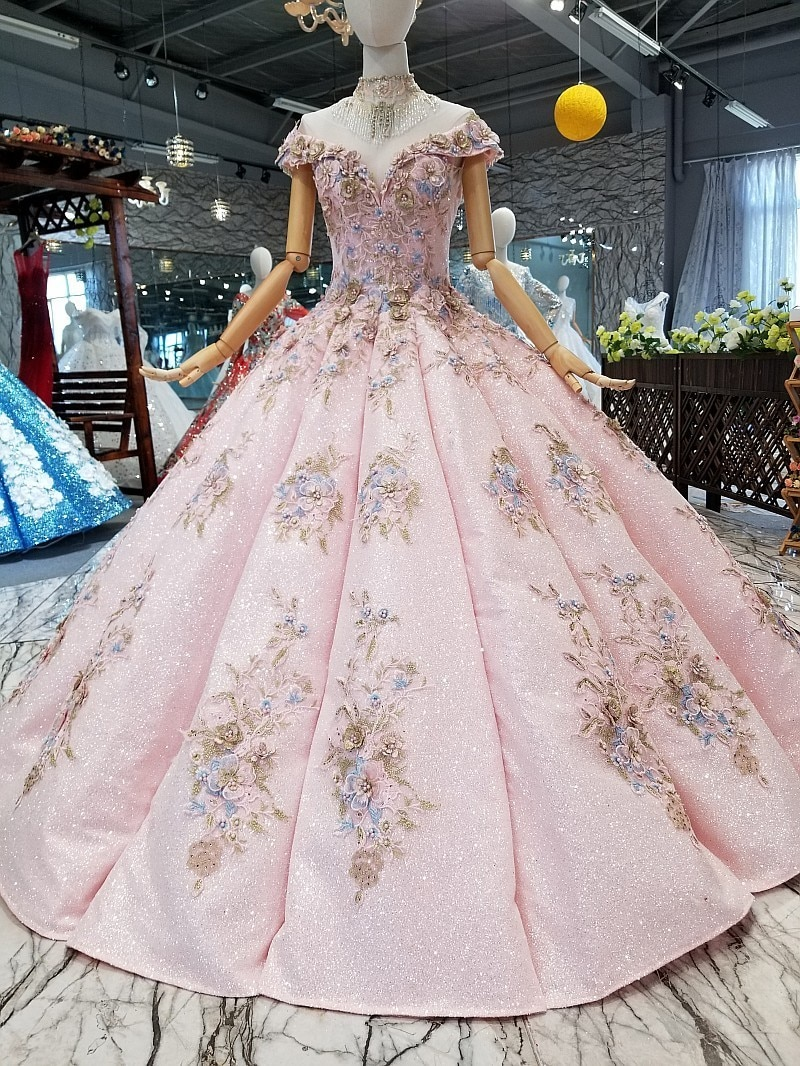 Pastel Garden Floor Length Off Shoulder Pastel Pink Floral Wedding