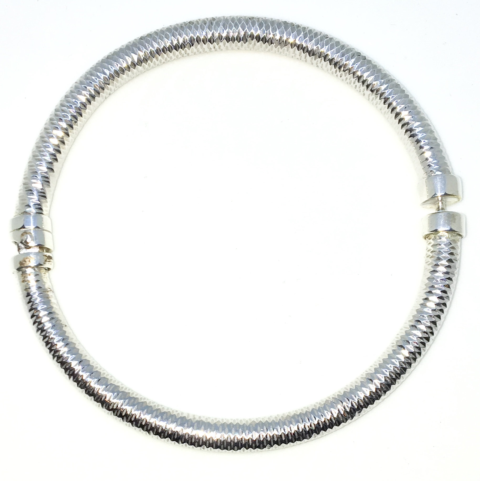 657b3bb6fcc New White Gold Layered on 925 Solid Sterling Silver Bangle Bracelets ...