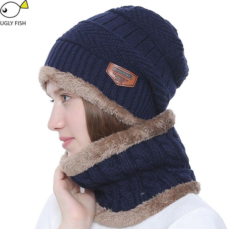 e105a8e12 Warmer Knitted Hat Winter Men Knit Neck Skullies Beanie Hats Scarf Beanies  Cap