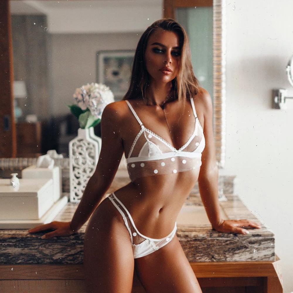 Sexy Lingerie Babydoll mesh Polkadot Bra Sets