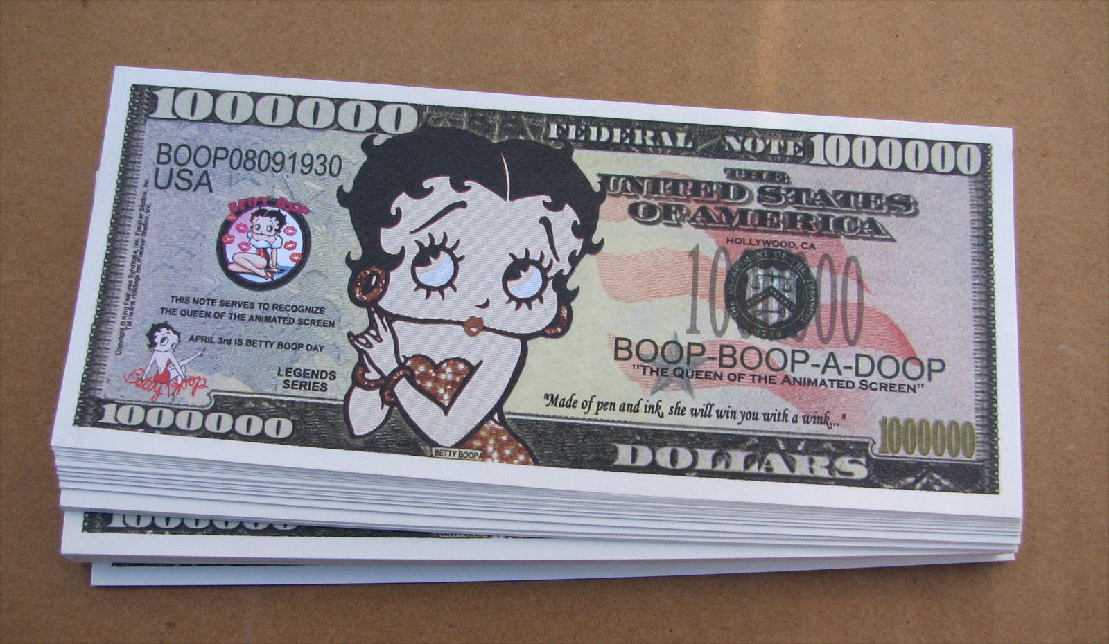 Betty Boop Cartoon Series Million Dollar Novelty Money