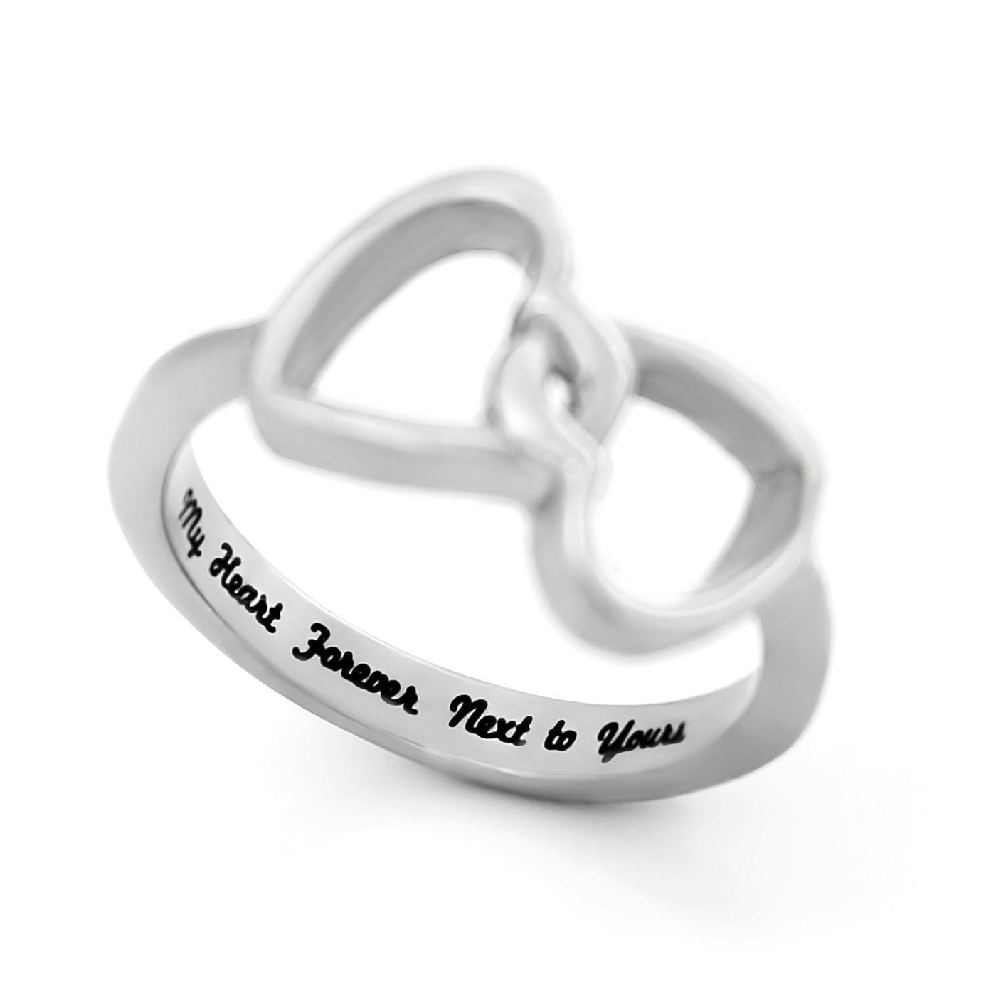 Wedding Ring Engraving Quotes: Double Hearts Lovers Ring, Promise Ring
