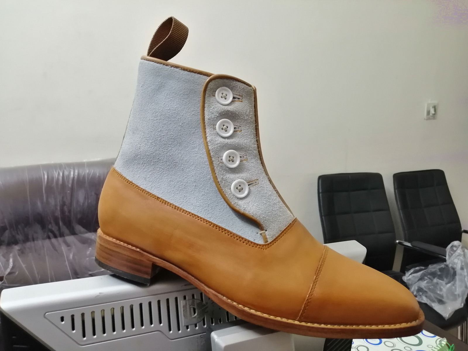 Latest Handmade Leather Suede Cap Toe Boots Men's Button Top Ankle Boots, Dress Formal Boots