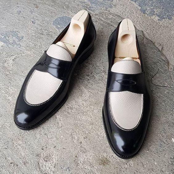 Handmade men black and white shoes, men