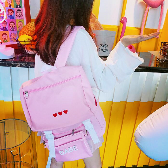 FREE Shipping Harajuku Red Heart Backpack With Purse (112876469) photo