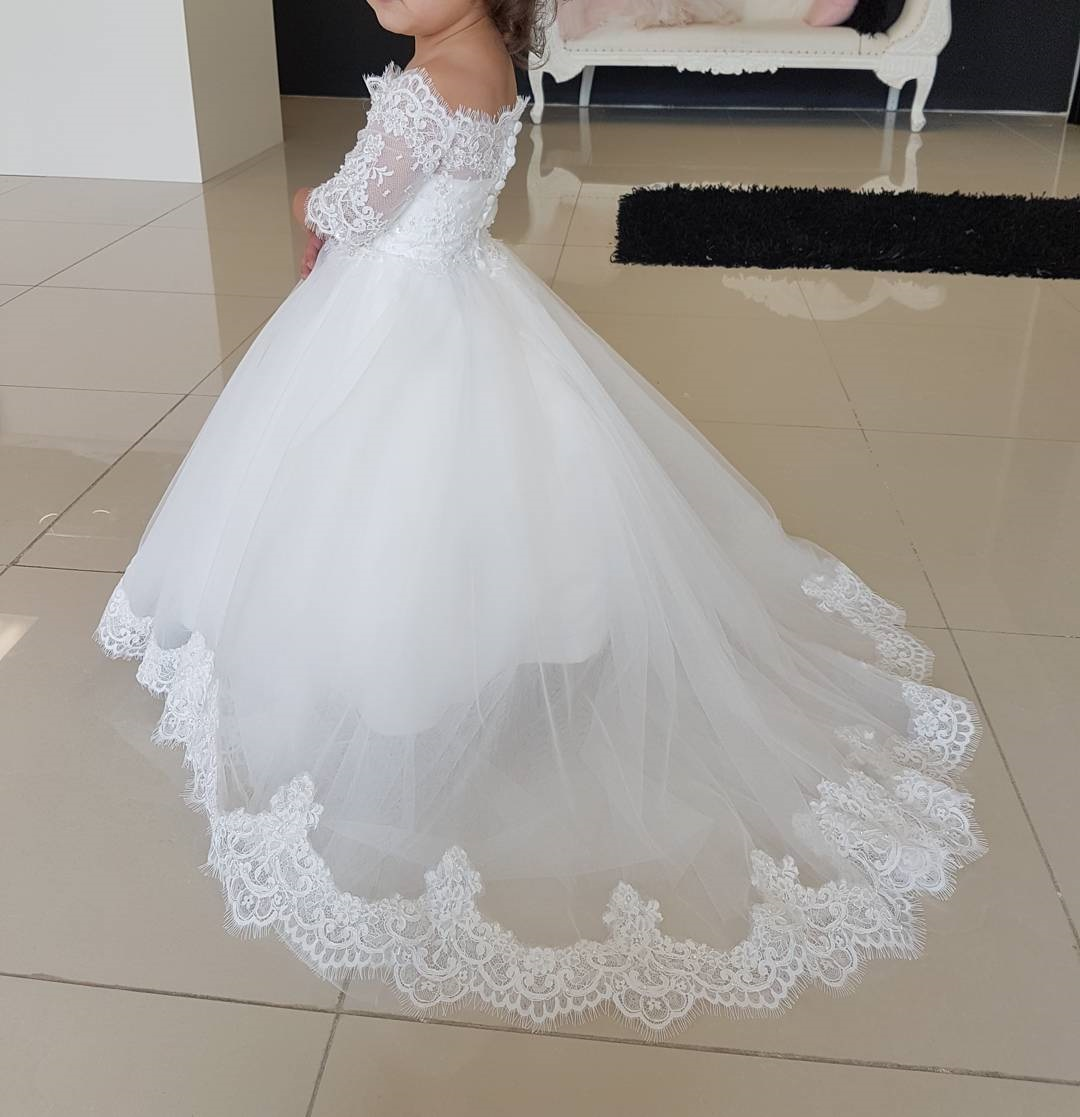 dfc55eb6a115f Boat neckline White Princess Kid's Wedding Gowns, Half Lace Sleeves Flower  Girl Dresses,First Communion Dress,765 from Lovefashion
