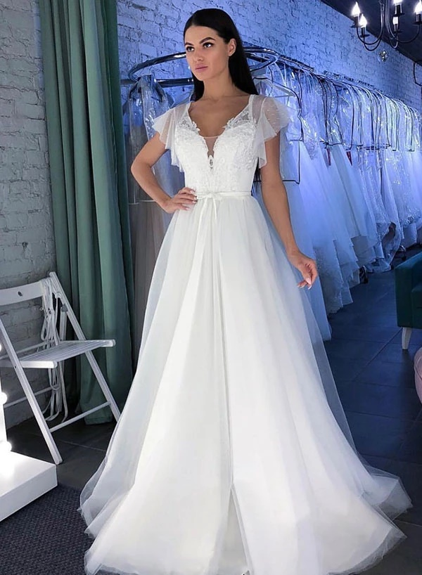 Stuuning White V Neck Puff Sleeves Appliques Wedding Dress Elegant Bridal Gown Dresses 796 From Lovefashion