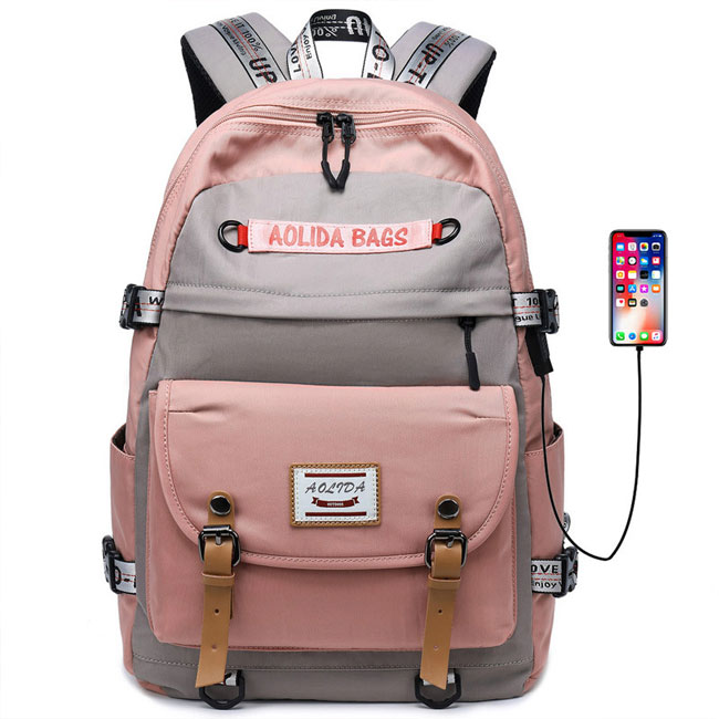 Leisure USB Large Capacity Computer Backpack Outdoor Backpack Student Contrast Stitching Backpack