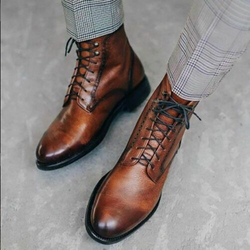 Handmade Brown Lace up ankle boots for Mens, brown leather Dress Ankle boots