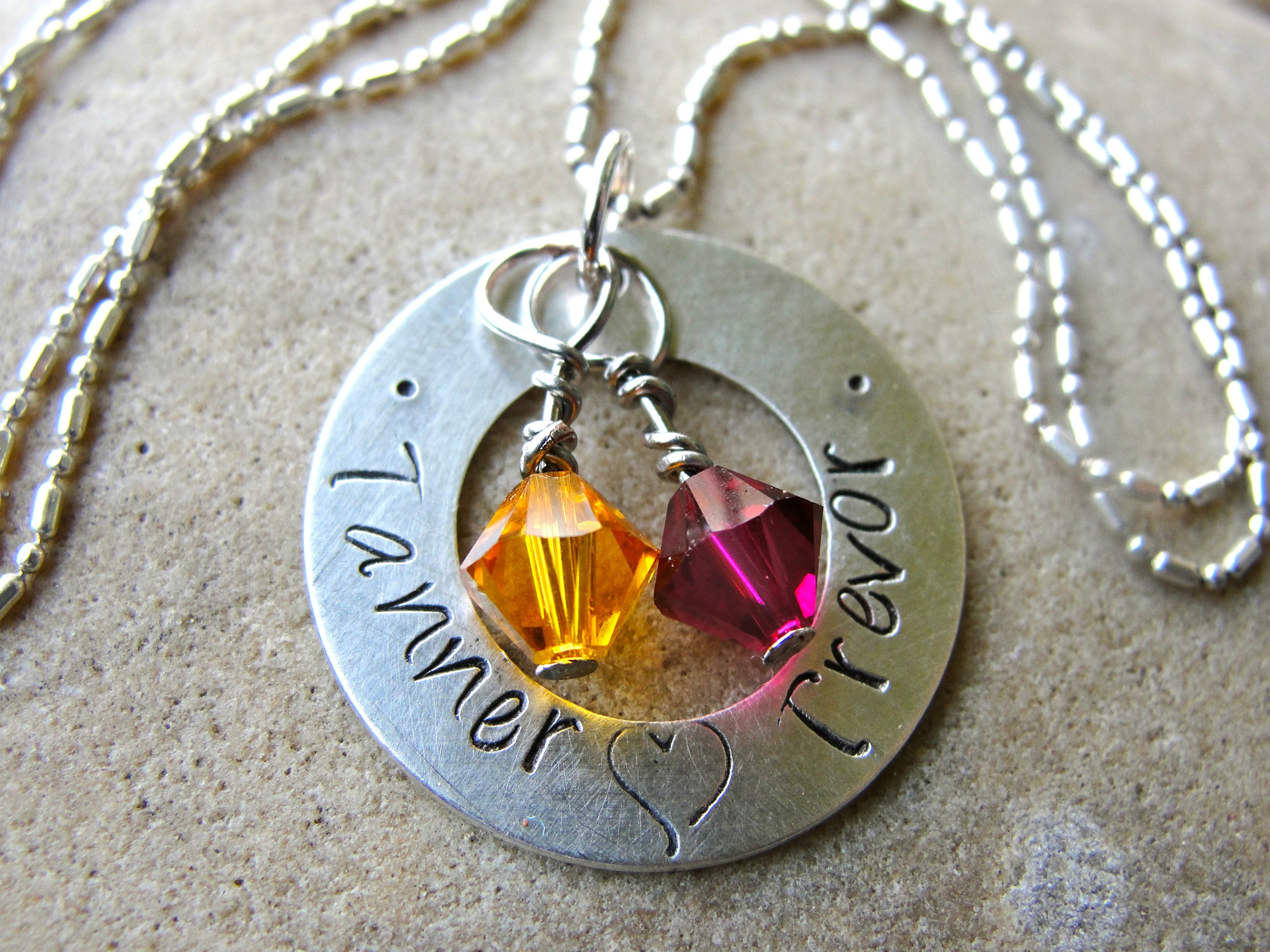 Custom Hand Stamped Sterling Silver Washer Necklace For