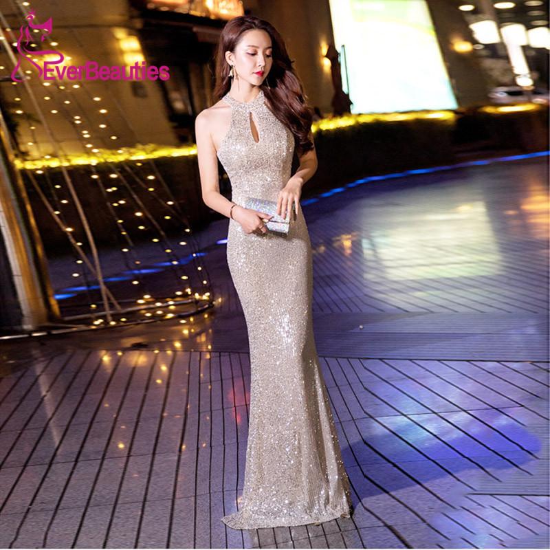 Silver Evening Dress Halter 2019 Sequins Formal Dress Party Dress Vestidos Prom Dresses Homecoming Dresses Vestidos De Festa