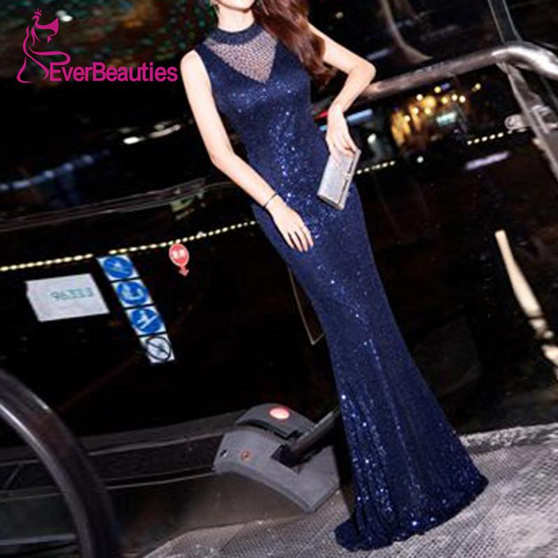 Dark Blue Evening Dress 2019 Sequins Dress Party Formal Dress Vestidos Prom Dresses Homecoming Dresses Vestidos De Festa