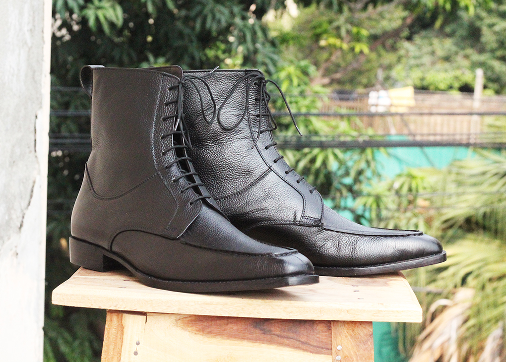 Black Leather Ankle boots Mens, High Ankle Boots. Handmade Boots