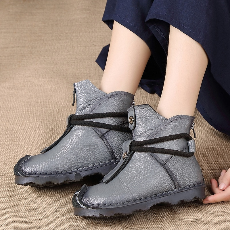 Genuine Leather High Quality Ankle Boots Fashion Women's Boots New Short Boot Winter Purple Gray Flats Boots
