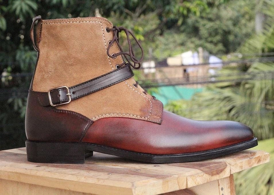 Mens Madrid Strap Leather Ankle Boots. Handmade Mens High Ankle Boots