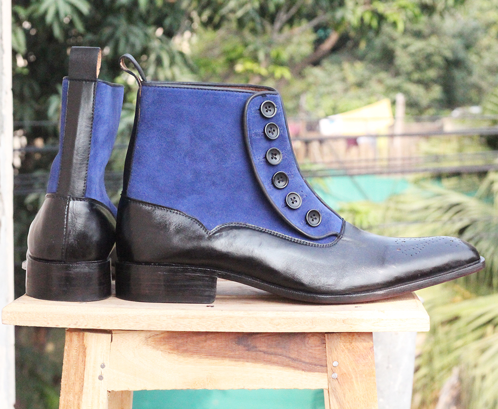Blue Black Button Top Ankle Boots. Handmade High Ankle Boots. Mens Boots