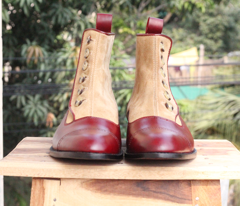 Mens Burgundy Button Top Ankle Boots. Handmade Mens High Ankle Boots. Mens Boots