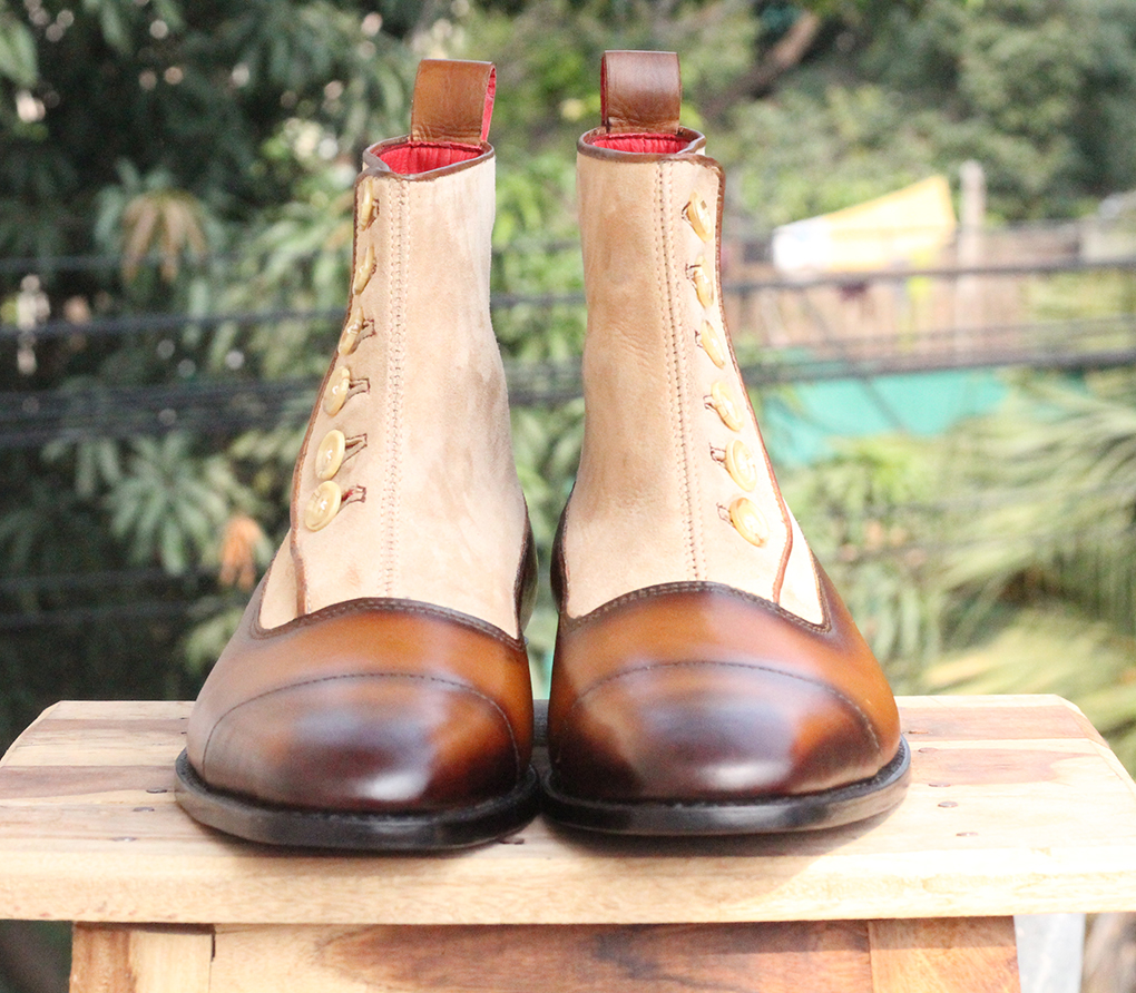 Mens Brown Button Top Ankle Boots. Handmade Mens High Ankle Boots. Mens Boots
