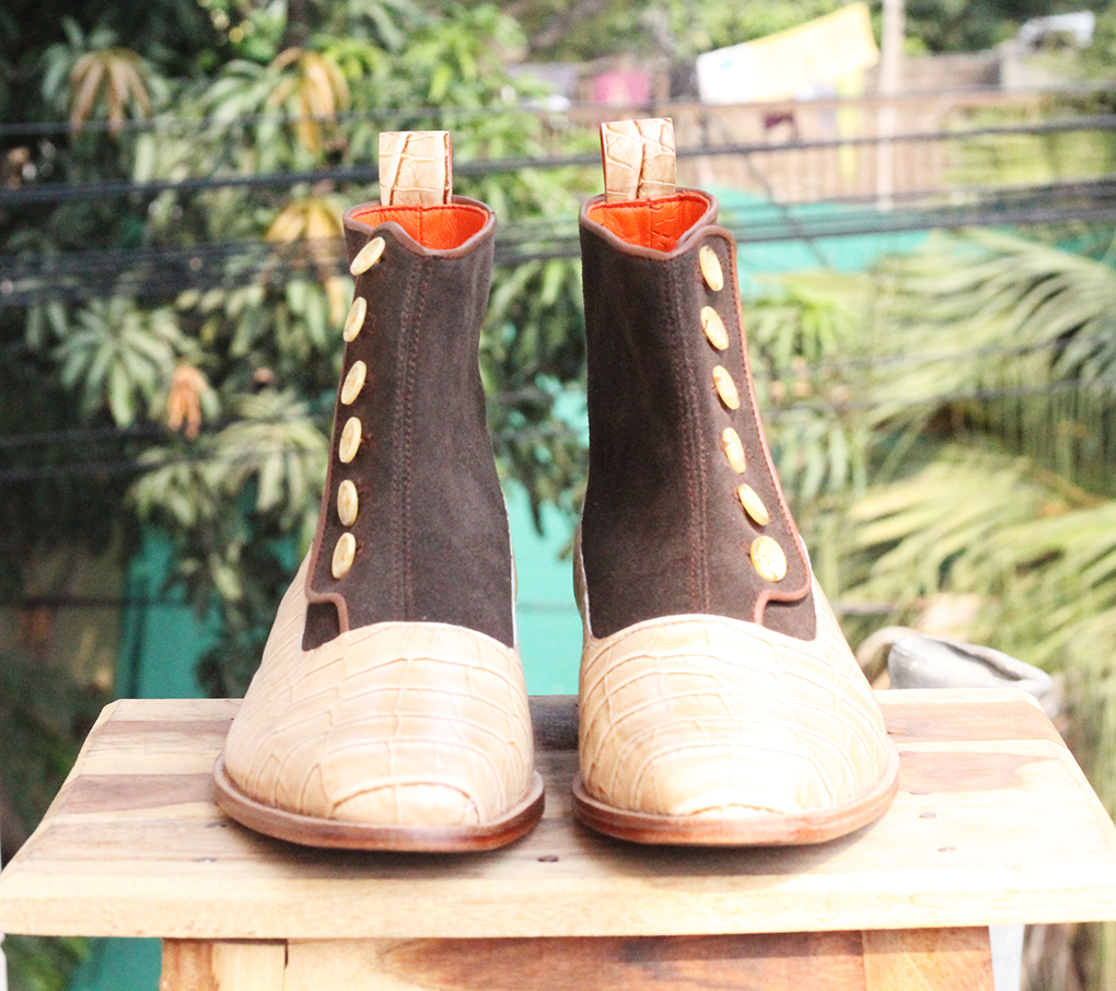 Mens Alligator Button Top Ankle Boots. Handmade Mens High Ankle Boots. Mens Boots