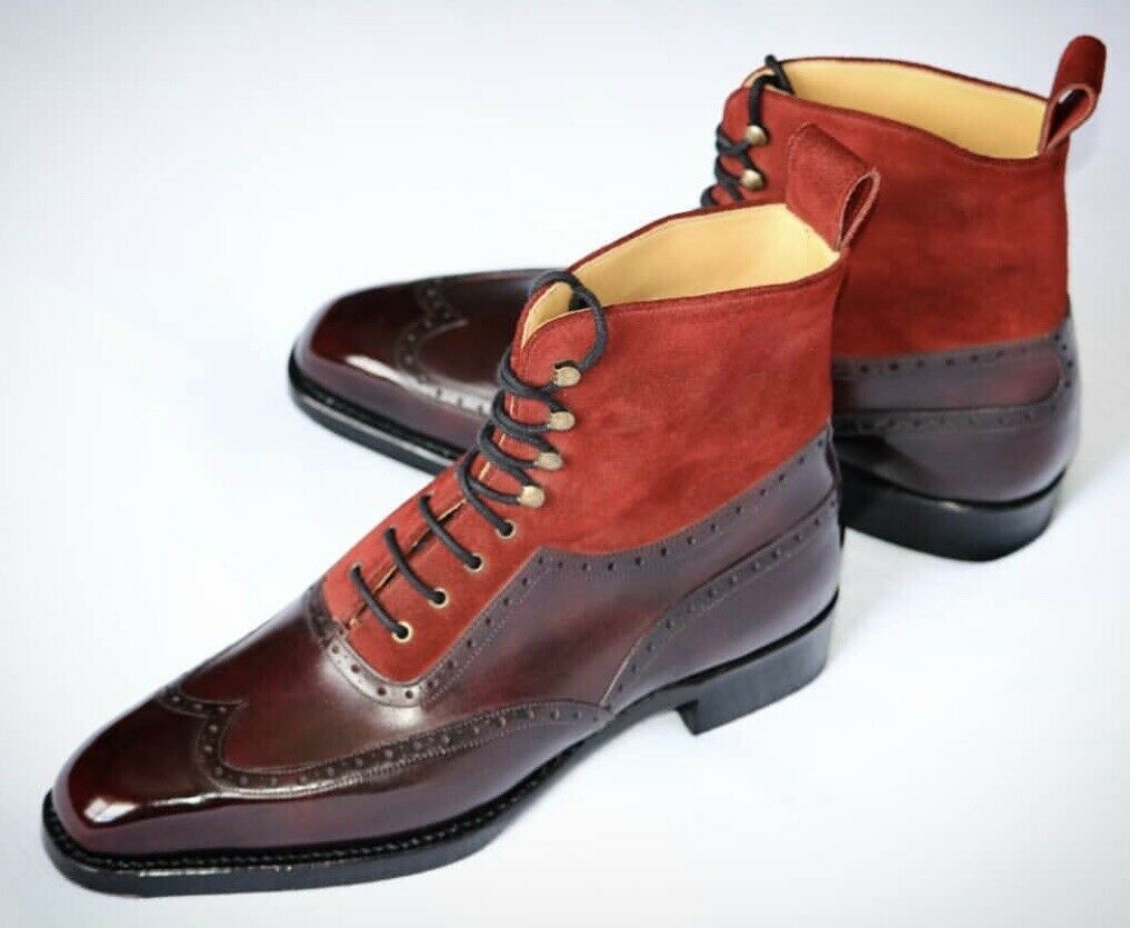 Brown Two Tone Leather Ankle Boots. Mens Lace Up Boots. Handmade Boots