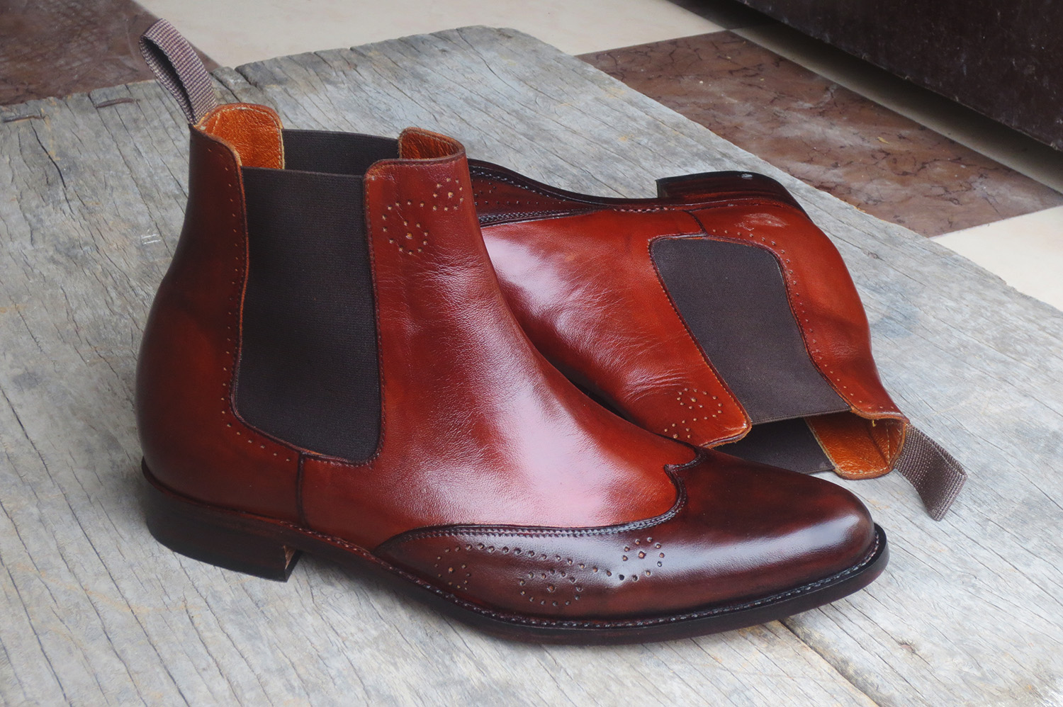 Brown Leather Wing Tip Chelsea Boots. Mens High Ankle Boots. Mens Boots
