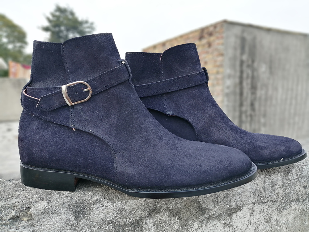 Handmade Men Jodhpurs Boots, Navy Blue Color Formal Casual Boots, Men Ankle Boots