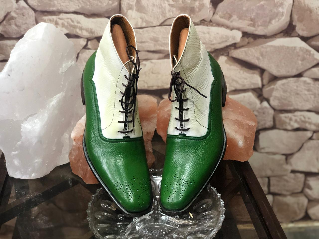 Mens Boots Mens Ankle Boots & Mens White Green Casual Boots. Leather High Ankle Boots