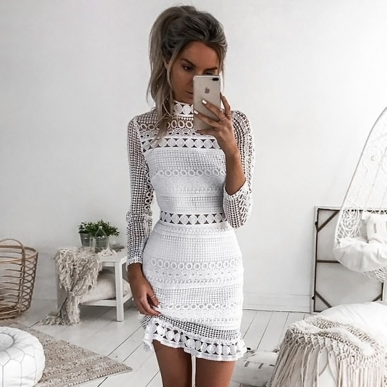 Long Sleeve Sexy White Lace Dress