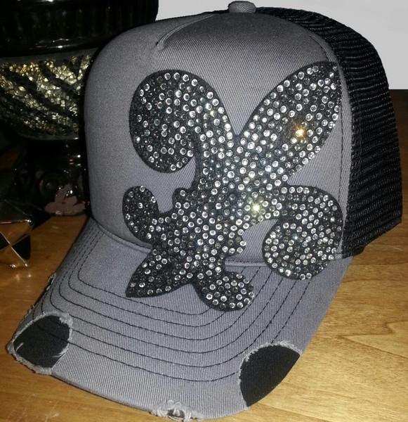 39a37f859e4d5 Envy Black Fleur De Lis Rhinestone Destructed Trucker Hat on Storenvy