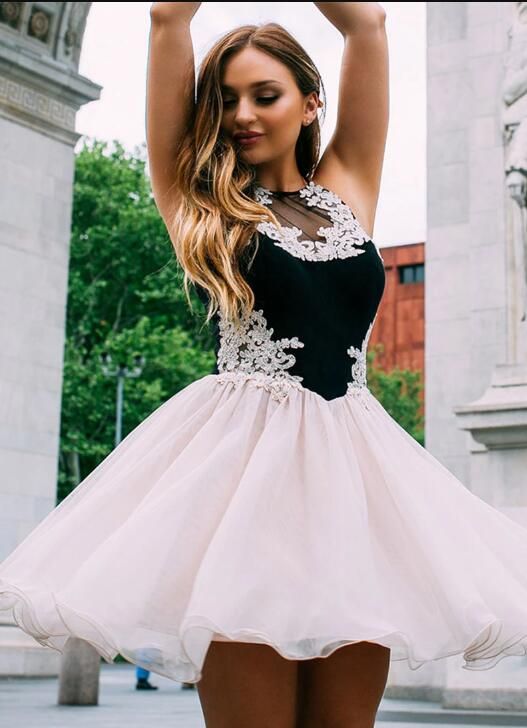 Cute Tulle Lace Short Prom Dress, Homecoming Dress DELI01 Silver-us6