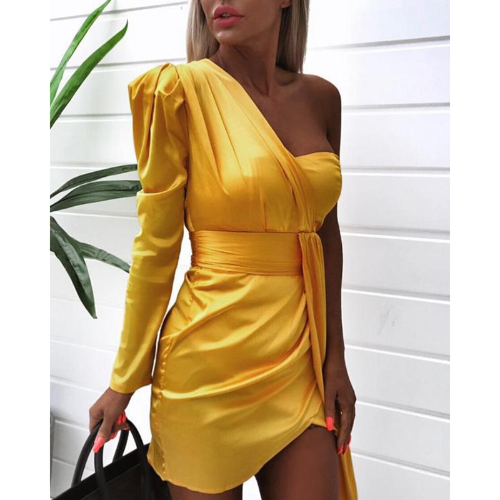 Sexy Yellow Off Shoulder Long Sleeve Dress