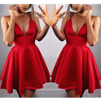 Deep V Neck Red Sexy Party Dress
