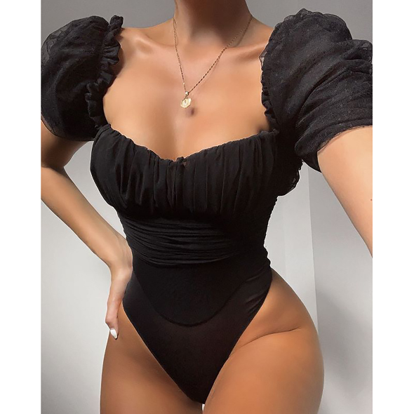 Sexy Black Zip up Back Mesh Bodysuit
