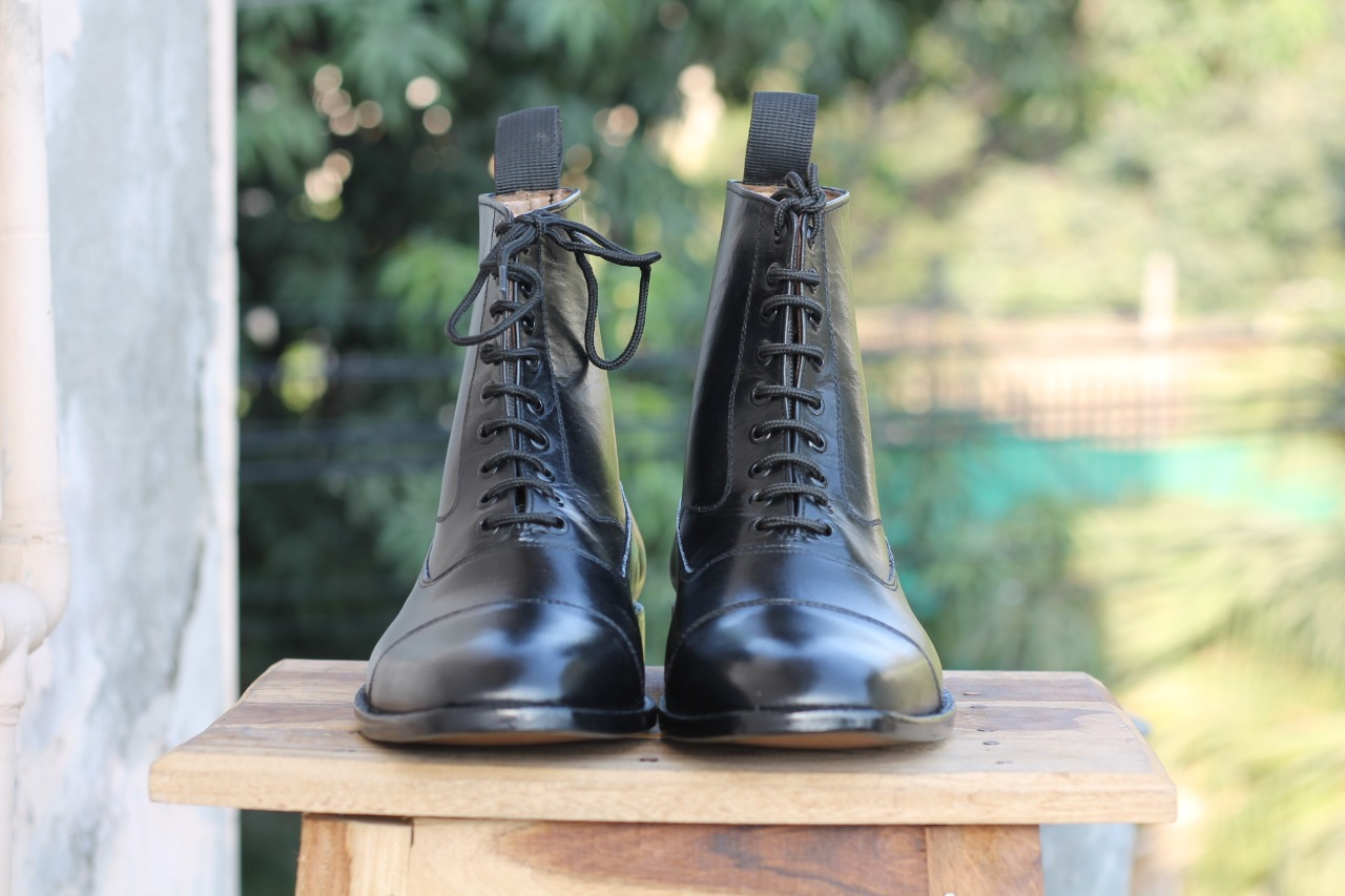 Black Ankle Boots For Mens. Mens Handmade High Ankle Boots