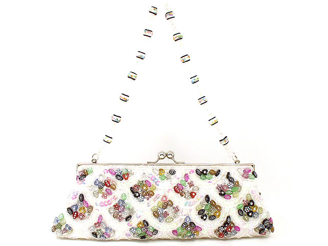 Sale White Sequin Beaded Women's Hand Bag Purse (117490342) photo