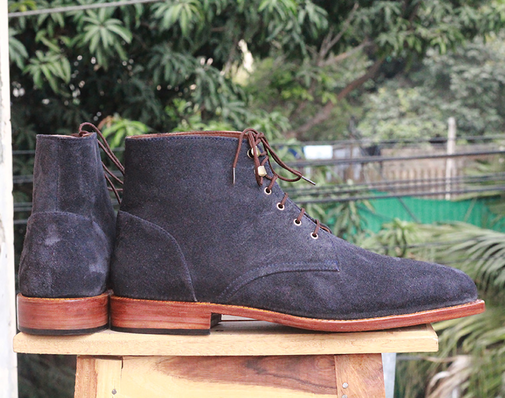 Mens Black Suede Ankle Boots. Handmade High Ankle Boots
