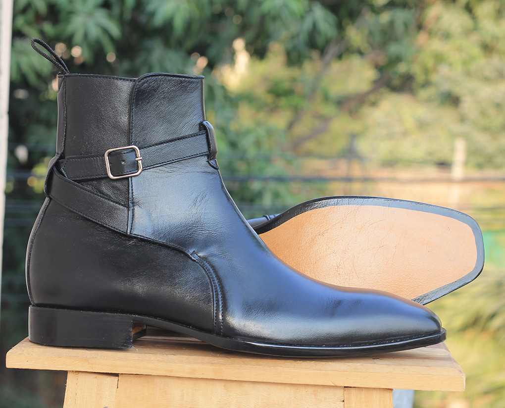 Handmade Black Jodhpurs Ankle Boots For Mens. Mens High Ankle Boots