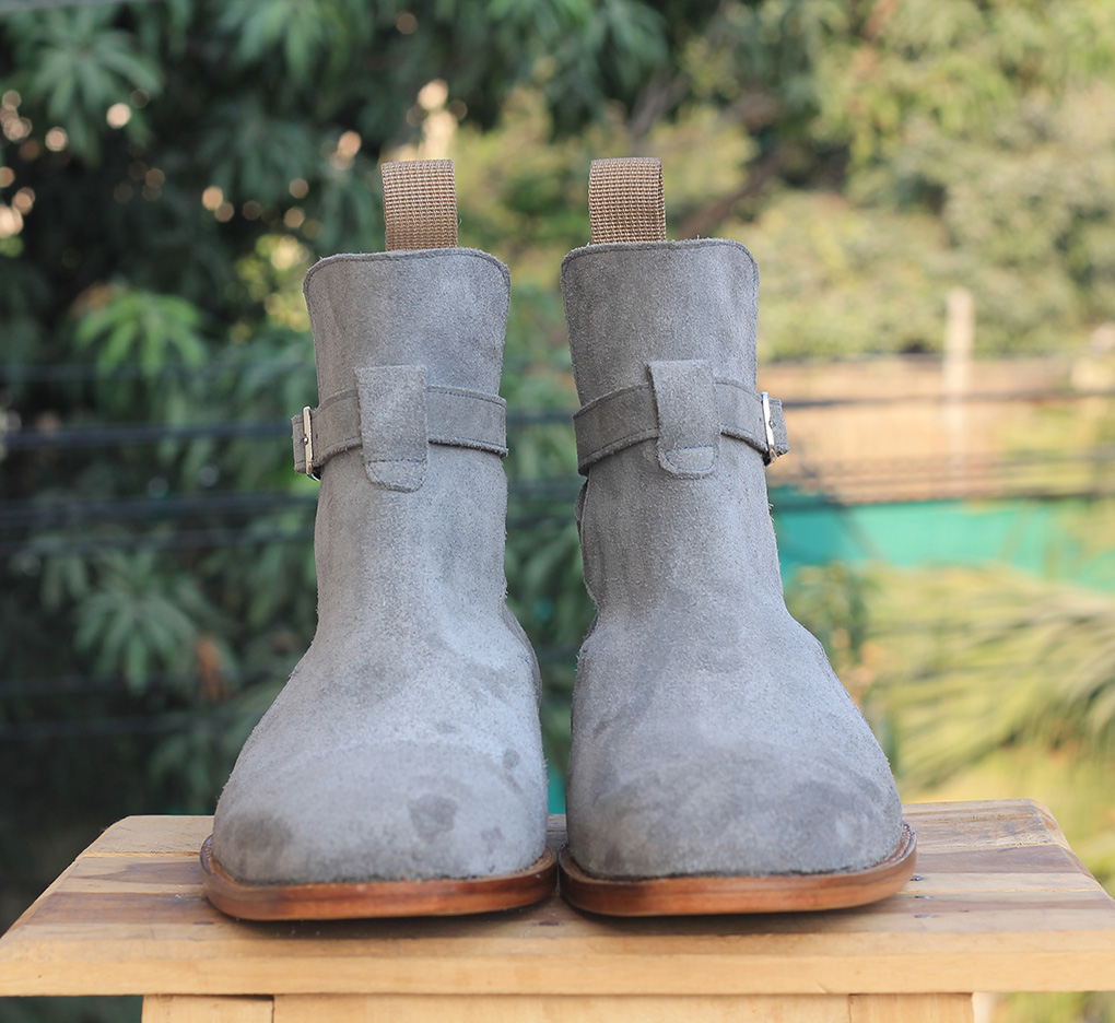 Gray Jodhpurs Ankle Boots For Mens. Handmade High Ankle Boots