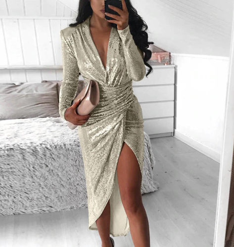 Sexy Bodycon V Neck Long Sleeve Sequin Dress