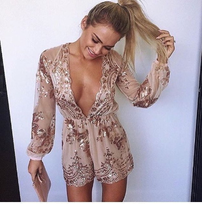 Sexy V neck Long Sleeve Sequins Romper