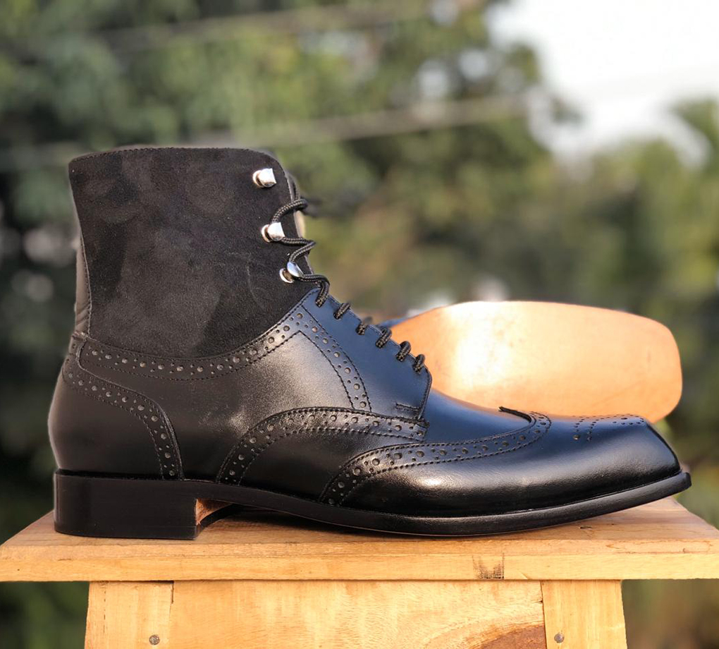 Handmade Black Ankle Leather Boots, Ankle Boots Suede & leather boots Men'
