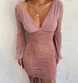 Sexy Chiffon Summer Autumn Long Sleeve Bandage Dress