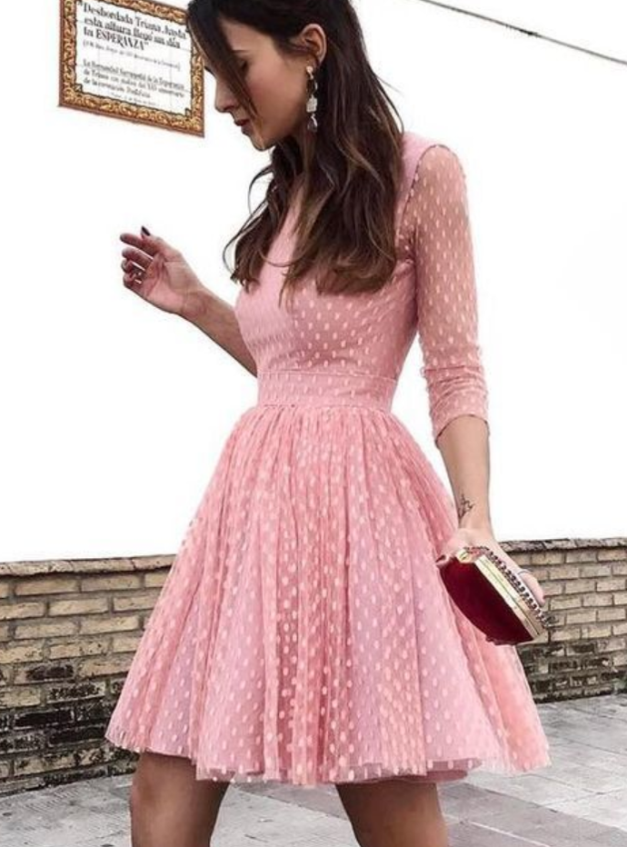 custom drsses Pink round neck long sleeve gown, open neck gown, cocktail dress, party dress, ball dress, homecoming dress