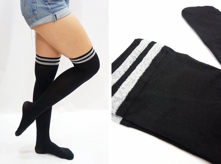0ddf9fc34 Athletic Stripe Thigh High Socks  tights -Black · Sandysshop ...