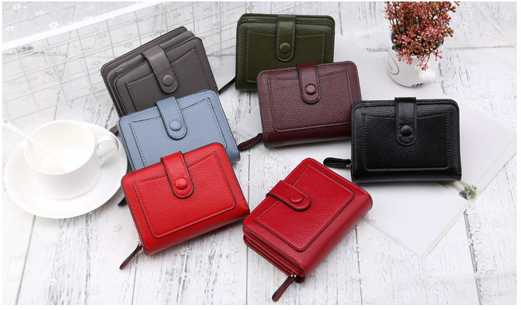 Women Wallets Luxury Brand Red Black Small Mini Coin Purse  Card Holder Lady Wallet Zipper Female Leather (120576055) photo