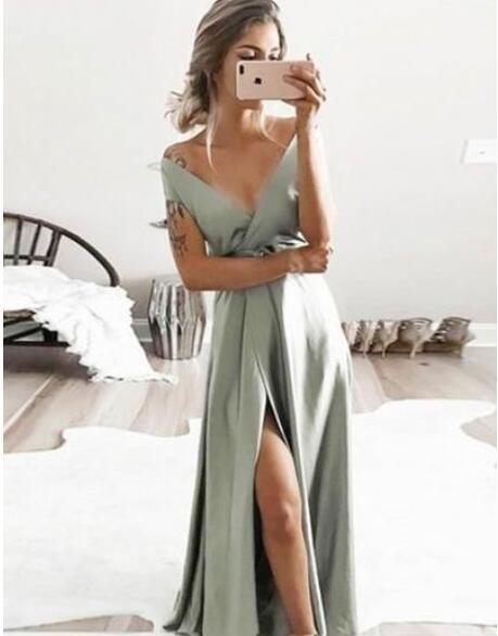 Sage_V_Neck_Split_Side_Long_Prom_Dresses_for_Women_Under_100