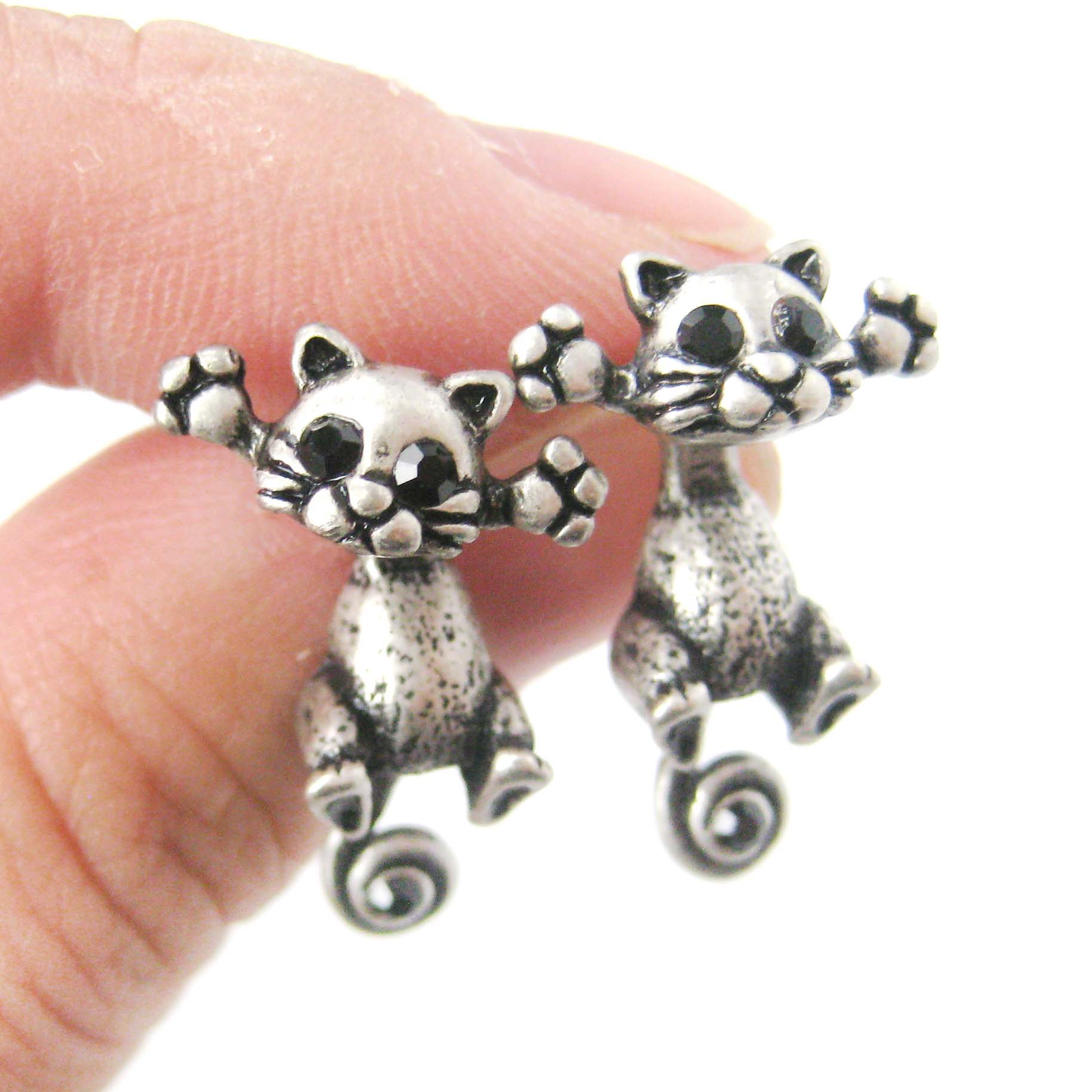 Kitty Cat Shaped Two Part Stud Dangle Earrings In Silver